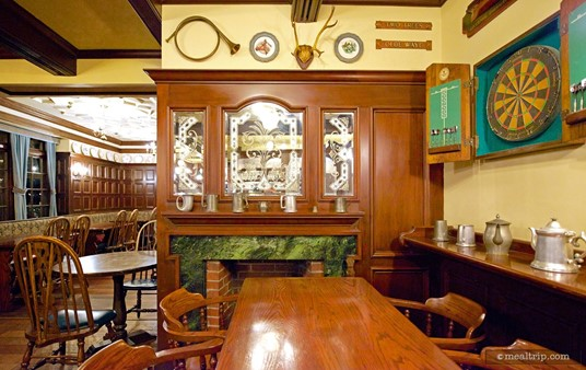 The small dart board nook tables in the Rose & Crown are located near the Pub.