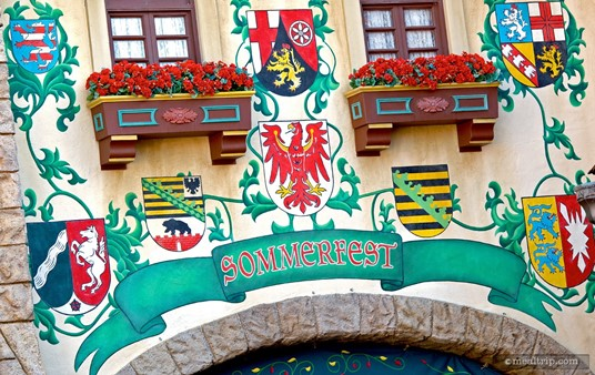 Artwork above the Sommerfest entrance, which is located on the right, when looking into the main courtyard.