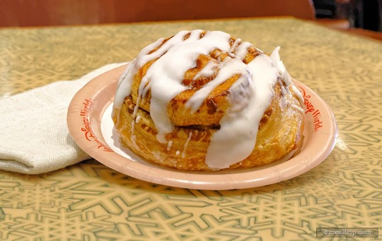 """Sunshine Seasons Cinnamon Roll is a light roll, as opposed to more dense breakfast pastries. This is a different recipe than the Cinnamon Pull-Apart item that's available at the nearby """"Garden Grill"""" Breakfast."""