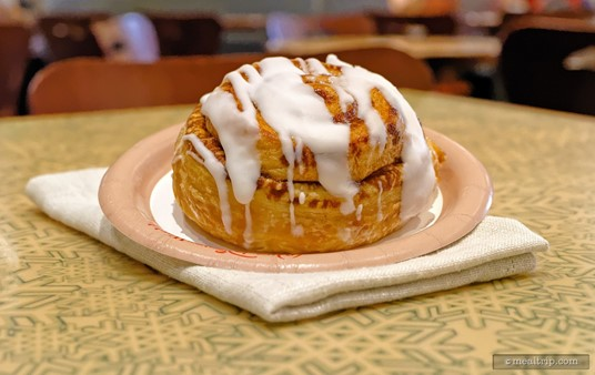 """The """"Cinnamon Roll"""" is available only at breakfast time at Sunshine Seasons in the Land Pavilion."""