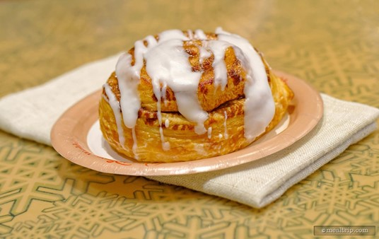 The Cinnamon Roll is served warm.
