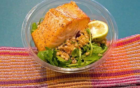 The Couscous Quinoa Arugula Salad with Salmon at Hollywood Studio's ABC Commissary.