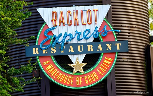 """The Backlot Express """"water tower"""" sign."""