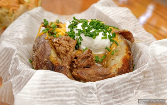 A closer look at the Beef Tips Loaded Baked Potato from Fairfax Fare.