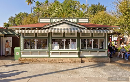 The Hollywood Scoops Ice Cream building at the very end of Sunset Boulevard at Hollywood Studios.