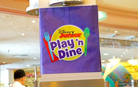 Disney Junior Play 'n Dine wraps are on many of the columns. These can only be seen at breakfast.