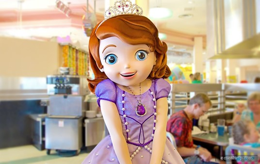 Sofia the First at the Play 'n Dine Breakfast. (Characters subject to change without notice.)