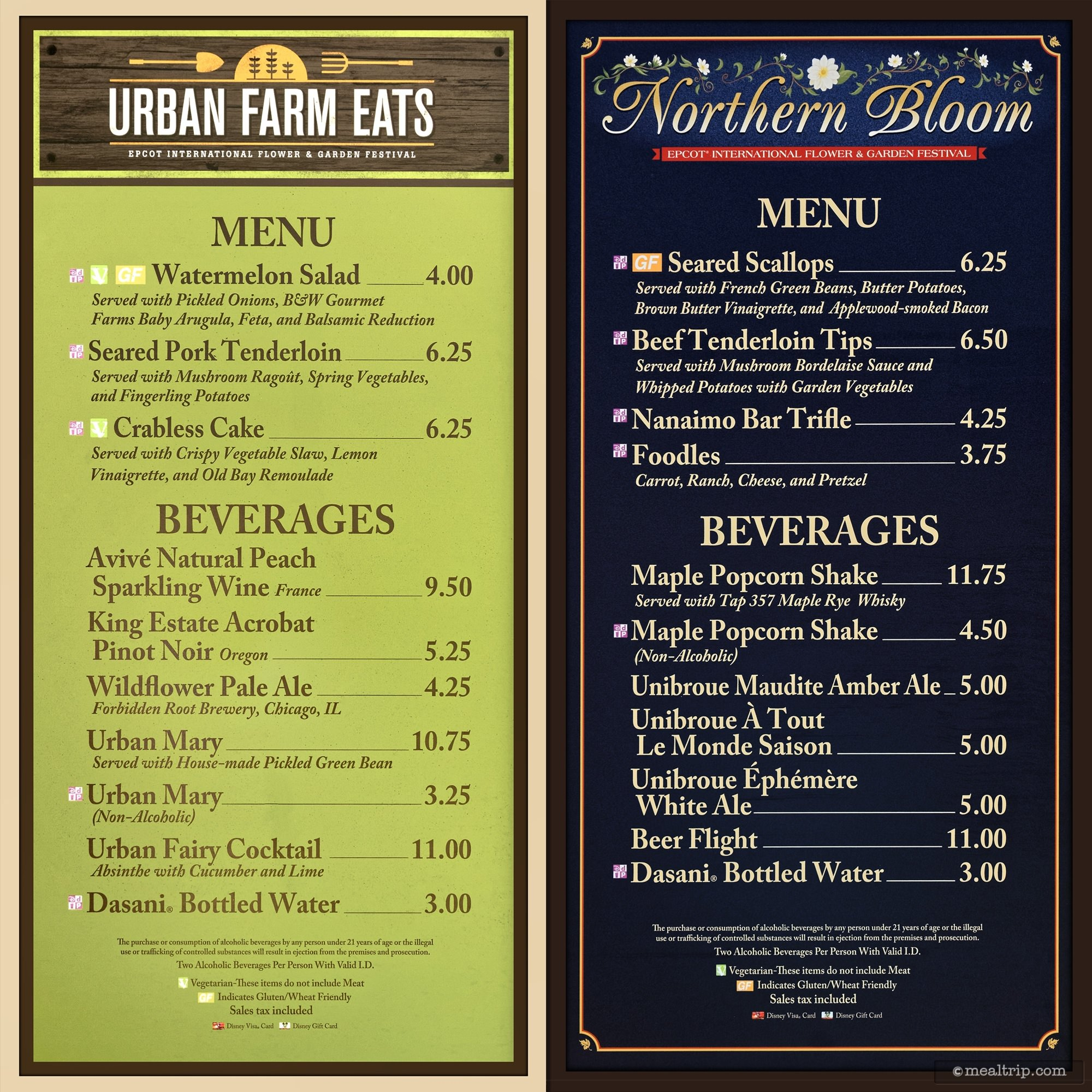 menu boards and prices for 2017 food booths - epcot flower & garden